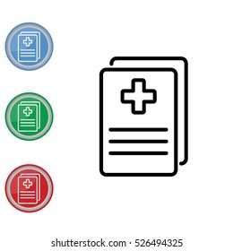 Web line icon. Medical forms, medical certificate