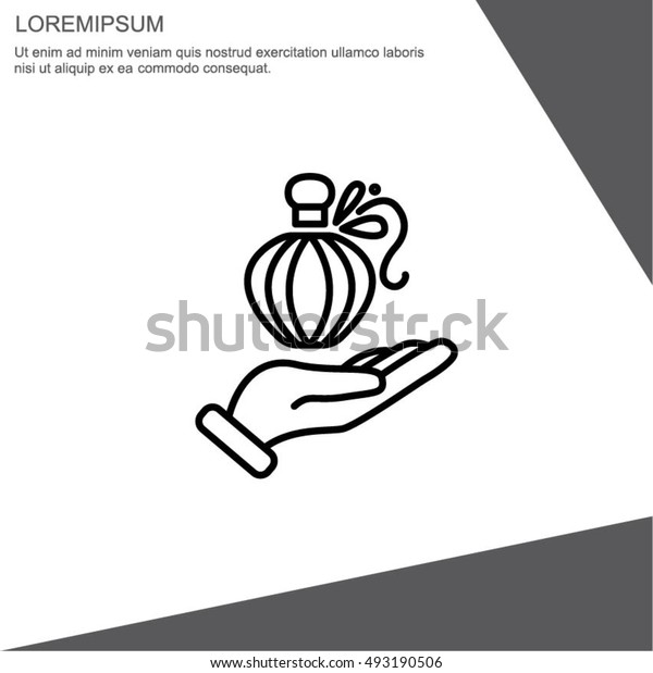Web line icon. Perfume bottle in hand