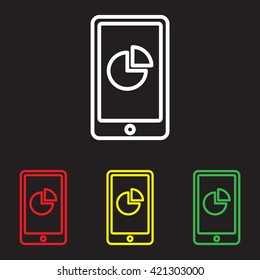 Web line icon. Smartphone with business graphs