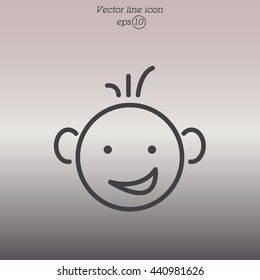 Web line icon. Smiling child, fanny baby
