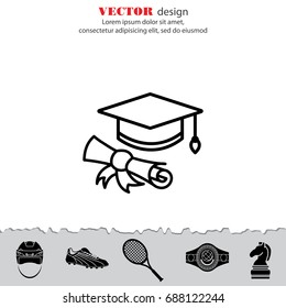 Web line icon. Student cap with diploma, education icon
