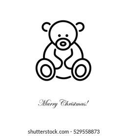 Web line icon. Teddy bear, children's toy