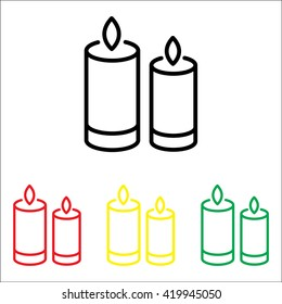 Web line icon. Two candles.