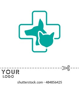 Web line icon. Veterinary medicine icon (dog, cat and cross).