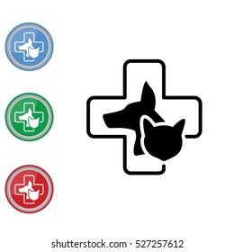 Web line icon. Veterinary medicine icon (dog, cat and cross).