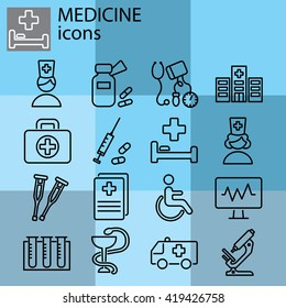 Web line set. Medicine icons