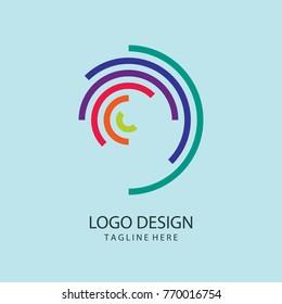 Web Logo. Spiral Logo Design. Colorful Logo