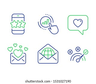 Web mail, Star and Love message line icons set. Graph chart, Love mail and Correct answer signs. World communication, Phone feedback, Dating service. Get report. Technology set. Vector