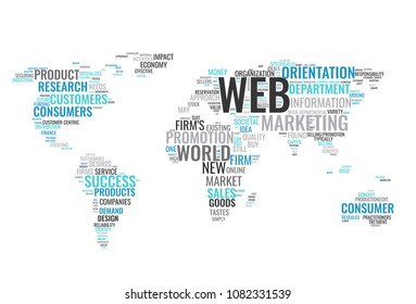 Web marketing word cloud business concept. Typography design text block. Composition from words for web design. Light blue and gray world map created from text