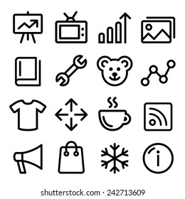 Web menu navigation line icons set - photo gallery, online store