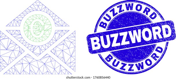 Web mesh euro mail icon and Buzzword seal. Blue vector round textured seal stamp with Buzzword message. Abstract frame mesh polygonal model created from euro mail icon.