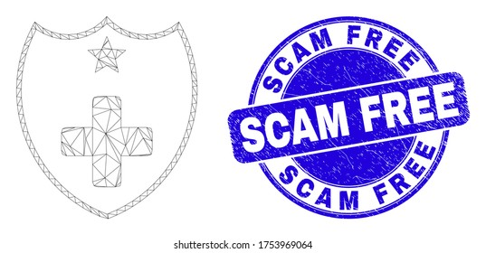 Web mesh medical shield icon and Scam Free seal stamp. Blue vector rounded distress seal stamp with Scam Free text. Abstract frame mesh polygonal model created from medical shield icon.