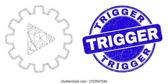 Web mesh start gear automation pictogram and Trigger seal. Blue vector round grunge seal stamp with Trigger text. Abstract frame mesh polygonal model created from start gear automation pictogram.