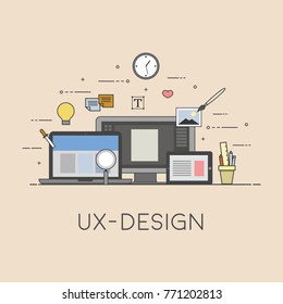 Web and mobile design. UX-design. Process of design. Flat design