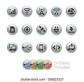 Web and Mobile Icons 6 // Metal Round Series -- The vector file includes 5 color versions for each icon in different layers.