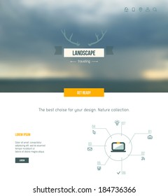 Web and mobile interface background. Corporate website design. Storm sea view with badge.