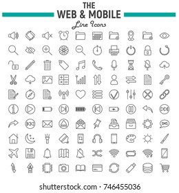 Web and Mobile line icon set, os interface symbols collection, vector sketches, logo illustrations, web signs linear pictograms package isolated on white background, eps 10.