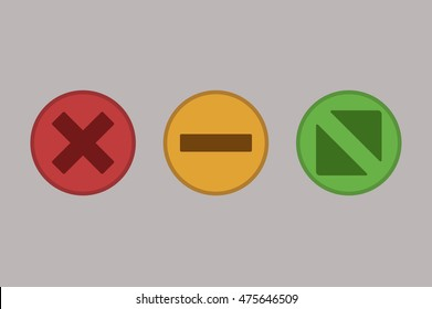 Web multicolor buttons. Close turn expand button. Flat vector stock illustration.