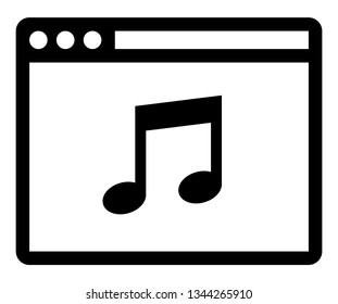 Web music player icon. Vector icon of web browser with musical note inside