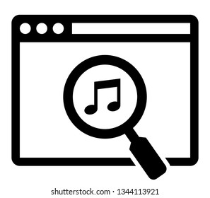 Web music search icon. Vector icon of web browser with musical note under magnifying glass inside