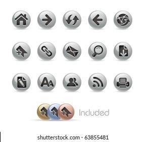 Web Navigation // Metal Round Series --- It includes 4 color versions for each icon in different layers---