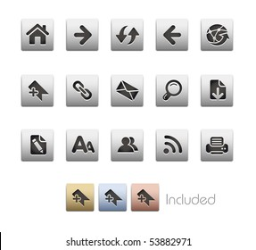Web Navigation // Metallic Series - It includes 4 color versions for each icon in a different layer.