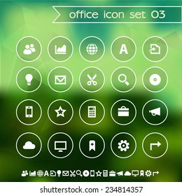 Web and office icons on blurred background, set 3
