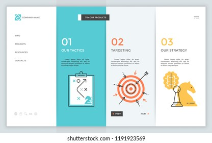 Web page with 3 rectangular elements, thin line symbols, numbers and place for text. List of marketing projects. Infographic design layout. Modern vector illustration for company's portfolio website.