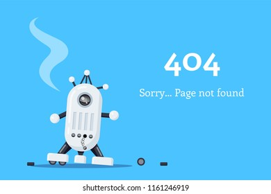Web page 404. Broken robot icon. Page not found. Flat style illustration.