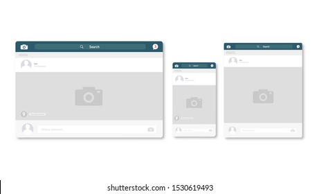 Web page browser, concept of facebook social page interface on the laptop, phone or tablet. Vector illustration.