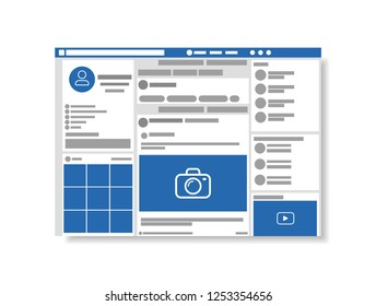 Web page browser, concept of social page interface on the laptop, vector illustration.