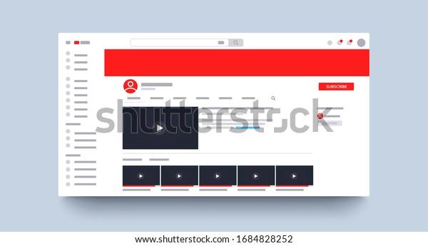 Web page channel mockup. Template media player. Blogging. Video. Promotion. Social media concept. Vector illustration. EPS 10