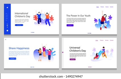 Web page design of children's day. Landing page vector illustration concepts for universal children's day. Children vector illustration.