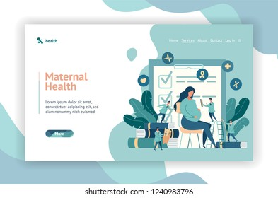 Web page design. expectant mother, pregnant woman at the doctor's office. little doctors examine a pregnant girl. vector illustration in modern style