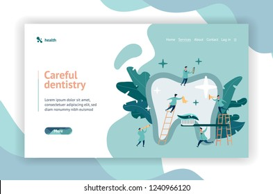 Web page design. Group of small dentists are caring for a large tooth. modern digital illustration with smooth shapes. Big tooth on the background of plants.