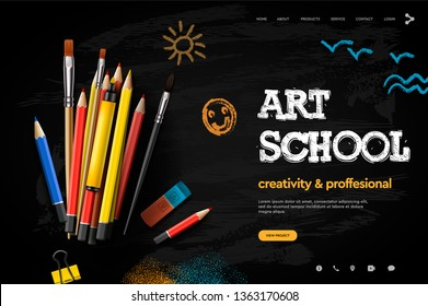 Web page design template for Art School, studio, course, creative kids. Modern design vector illustration concept for website and mobile website development.