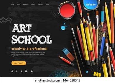 Web page design template for Art School, studio, course, class, education. Modern design vector illustration concept for website and mobile website development.