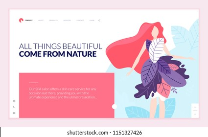 Web page design template for beauty, spa, wellness, natural products, cosmetics, body care, healthy life. Modern flat design vector illustration concept for website and mobile website development.