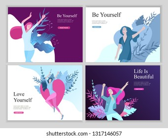 Web page design template for beauty dreams, International Womens Day, girls power, wellness, body care, healthy life, design vector illustration concept for website and mobile website development