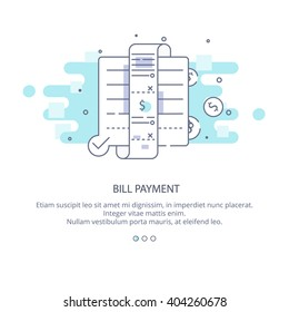 Web page design template of bill payment, payment overdue, broken budget. Bill payment in flat layout style, business concept web vector illustration.