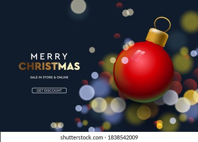 Web page design template for Christmas Sale. Vector illustration for landing page, poster, banner and website development.