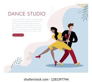Web page design template for dance studio. Modern vector illustration concepts for website and mobile website development. - Vector graphics