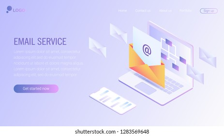 Web page design template. Email service isometric vector illustration. Webmail or mobile service layout for website landing header. EPS 10.