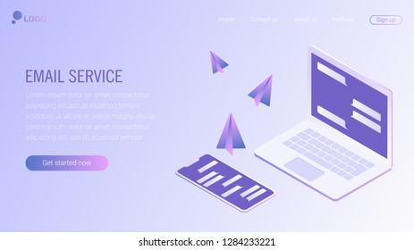 Web page design template. Email service isometric vector illustration. Webmail or mobile service layout for website landing header. Flat isometric vector illustration. EPS 8.