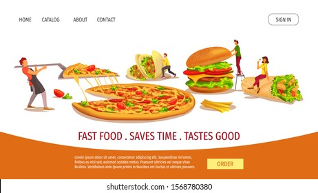 Web page design template for fast food, cooking, food ordering, restaurant menu. Tiny people with  huge Burger, Kebab, Tacos and Pizza. Vector illustration for banner, poster, website, menu, flyer.