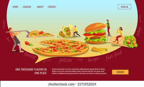 Web page design template for fast food, cooking, food ordering, junk food. Tiny people with  huge Burger, Kebab, Tacos and Pizza. Vector illustration for banner, poster, website, menu, flyer.