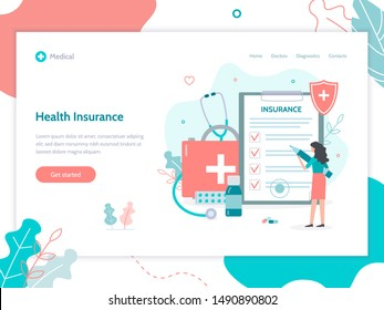 Web page design template. Health insurance concept. Flat vector illustration.