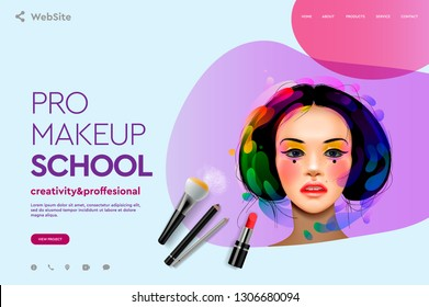 Web page design template for makeup school, course, natural products, cosmetics, body care. Modern design vector illustration concept for website and mobile website development.