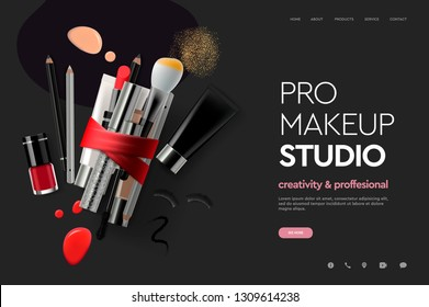 Web page design template for makeup studio, course, natural products, cosmetics, body care. Modern design vector illustration concept for website and mobile website development