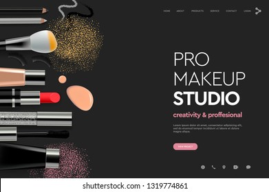 Web page design template for makeup studio, course, natural products, cosmetics, body care. Modern design vector illustration concept for website and mobile website development.